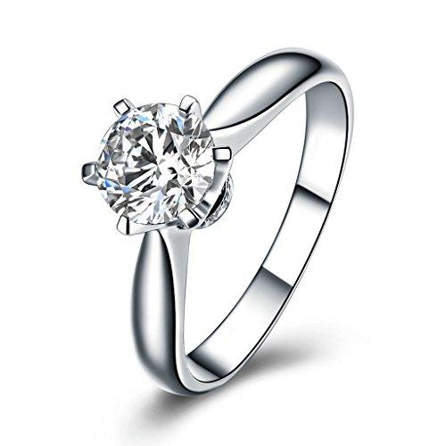 KnSam 925 Sterlingsilber 6 Prongs Damen Ring 1 Karat Cubic Zirkonia Verlobungsringe Trauringe Größe 52 (16.6)