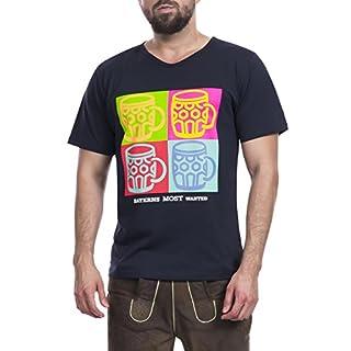 Tracht & Pracht Herren 100% Baumwolle - Shirt Trachtenshirt T-Shirt Pop Art Maß Schwarz - M