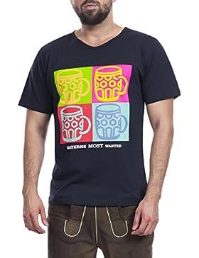Tracht & Pracht Herren 100% Baumwolle - Shirt Trachtenshirt T-Shirt Pop Art