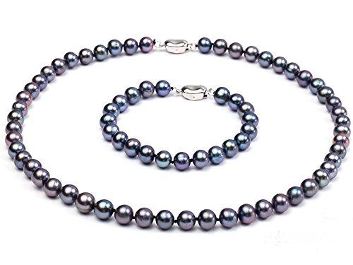 JYX 9-10mm AAA Schwarz Runde Süßwasser Zuchtperlen Halskette Armband Set (Triple Süßwasser-zuchtperlen Halskette)