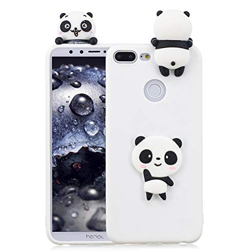CESTOR Silikon Hülle für Huawei Honor 9 Lite,Mode Niedlich 3D Weißer Panda Muster Ultra Slim Weich Flexibel Soft Gel TPU Silikon Hülle für Huawei Honor 9 Lite,Anti-Kratzer Relief Gummi Bumper Rückseite HandyHülle für Huawei Honor 9 Lite + 1 x Metal Finger Kickstand