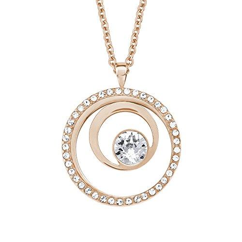 S.Oliver Damen Kette mit Anhänger Kreis IP Rosegold Edelstahl Swarovski Kristalle 42+3 cm weiß