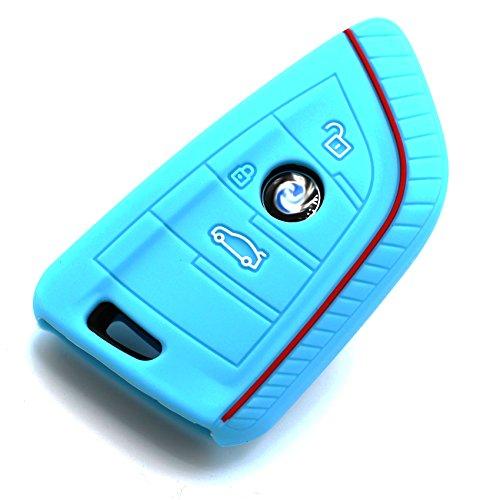 Schlüssel Hülle BD für 3 Tasten Auto Schlüssel Silikon Cover von Finest-Folia (Hellblau)