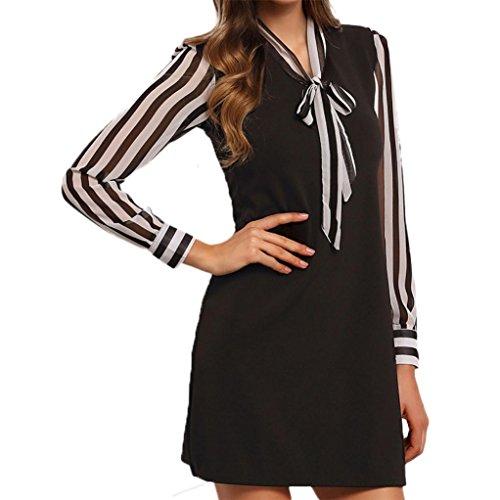 Amlaiworld Femmes Automne hiver Mini robe à rayures Noir
