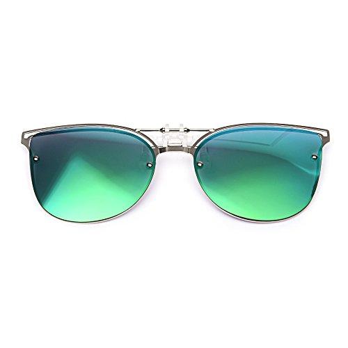 TERAISE Women's Clip-on Sonnenbrille für verschreibungspflichtige Brillen- Polarisierte Flip up Vintage Cat Eye Sonnenbrille für Damen fahren
