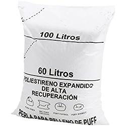 textil-home RE-Puff-2 Relleno para Puff de Bolas (Perlas), Poliestireno, 100 L