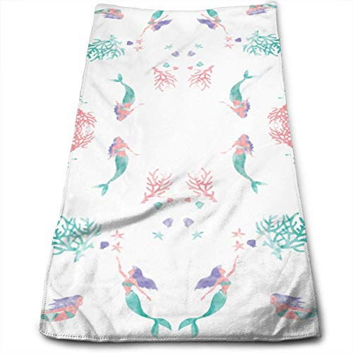 Tyueu Handtuch Gesicht Handtücher Watercolor Mermaids Wallpaper Towels Multi-Purpose Microfiber Soft Fast Drying Travel Gym Home Hotel Office Washcloths -