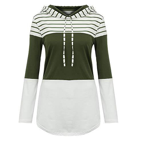 shirt MYMYG Patchwork Langarm Hoodie Pullover Frauen Herbst Mode Hooded Sweatshirt Mädchen Pullover(Armeegrün,EU:38/CN-L) ()