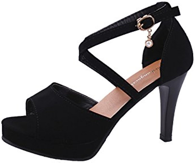 Dony Señoras sandalias con finas y cómodas sandalias de damas,negro,34 -