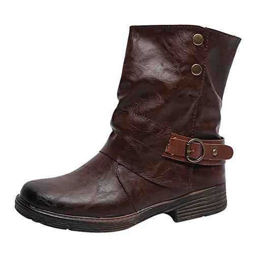 MYMYG Damen Schlüpfen Leather Stiefeletten Weinlese-Frauen Runde Spitze Leder Booties Zipper Stiefel quadratische Ferse Schuhe Boots Halbschaft Stiefel Freizeitschuhe