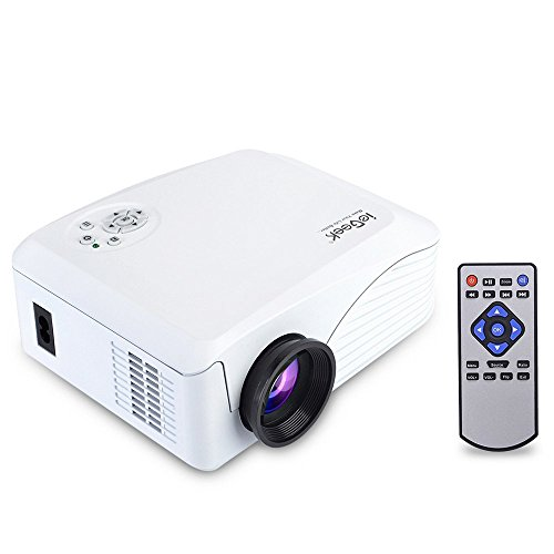 Beamer, ieGeek Mini Beamer LED Full HD 1080P LCD Video Projektor Multimedia Projektor für Heimkino Theater PS4 Xbox One Video-Spiele Laptop, Unterstützt HDMI USB SD VGA AV Audio, Weiß, GK-H88W (Spielen Von Ps4-spielen)