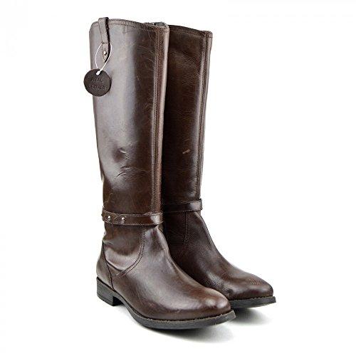 Kick-Scarpe da donna, al ginocchio, suola piatta, in vera pelle, Marrone (marrone)
