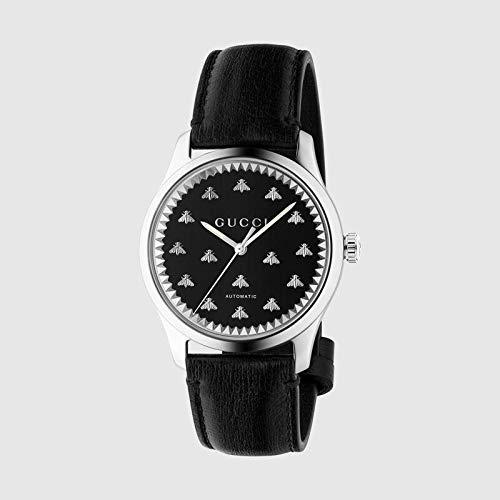 GUCCI HERRENUHR G-Timeless Armband Leder SCHWARZ-API AUF DEM ZIFFERBLATT YA126286