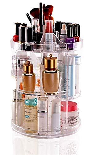 DECO EXPRESS 360 Grad drehbarer Make-up-Organizer für Schmuck, Kosmetik und Parfüm, kristallklar,...