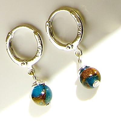 Boucles d'oreilles en Argent 925 plaqué Agate Folle Bleue 13mm