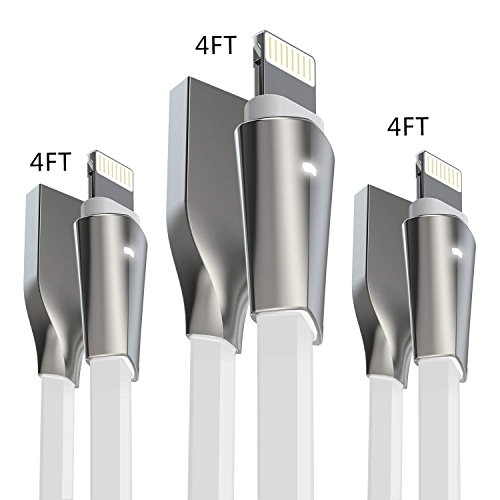 iPhone Kabel, aimus 2 Pack 4 ft + 122 cm + 122 cm Zink legiertem Lightning auf USB Ladekabel Ladegerät Kabel für iPhone X/8/8 Plus, iPhone 7/7 Plus, iPhone 6/6S/6 PLUS/6S Plus, iPhone 5/5S/5 C/SE, iPad Mini 2 3 4 Air iPod ios10 und mehr 3Pack-4FT+4FT+4FT-White (Reversible Vier Licht)