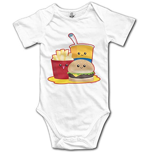 TKMSH Cute Fast Food Newborn Short Sleeve Baby Climbing Clothes White