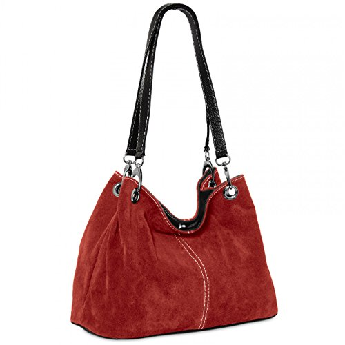 CASPAR TL621 klassische Damen Wildleder Handtasche, Farbe:weinrot