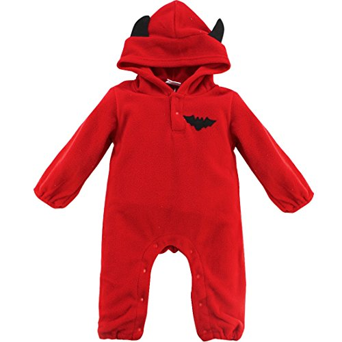 n Kostüm Winter Fleece Overall mit Kapuze Mädchen Jungen Strampler Jumpsuit Bodysuit Kleidung Fledermaus + Rot 62-68 (Herstellergröße: 70) (Halloween-kostüm Für Baby-jungen)