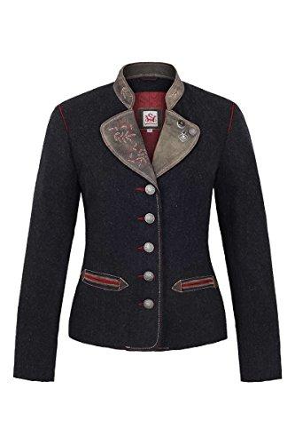 Spieth & Wensky Damen Damen Trachtenblazer Wolle Ziegenvelour grau rot, grau-rot, 40 -