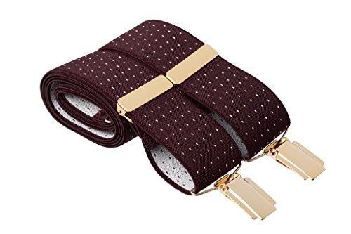 Gents Shop - Tirantes - Lunares - para hombre Maroon With White Dots