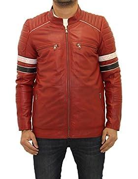 Hombres de cuero rojo mandar'n mangas de rayas cuello acolchado Biker Jacket