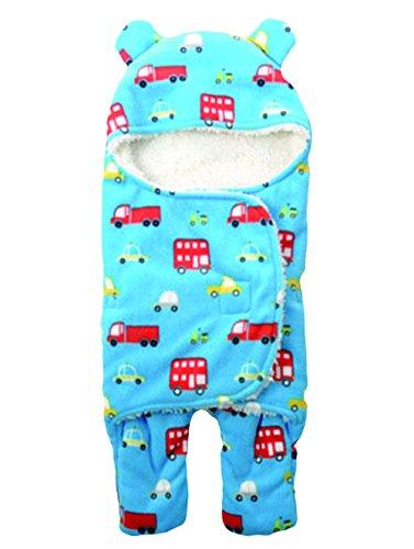 Mainaisi Baby Einschlagdecke Wickeldecke Neonatal Drucken Double-Layer Schlafsack Verschiedene Tier-Designs (Auto,L/78X86CM)