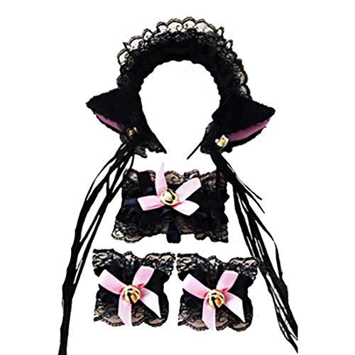 4pcs / Set-Spitze-Katze-Ohr-Form-Haarreif Sexy Hair Hoop Halloween Cosplay Katze-Kostüm