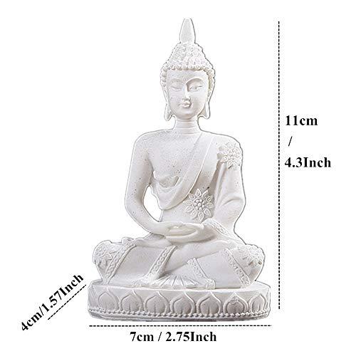 QWERWEFR 11 cm Natur Sandstein Indien Buddha Statue Fengshui Sitzen Buddha Skulptur Figuren Vintage Wohnkultur Verwenden für Aquarium -