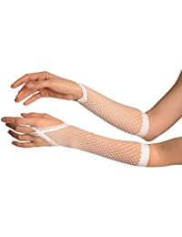 White Finger Loop Fishnet Party Gloves - Blanc Gants Taille Unique
