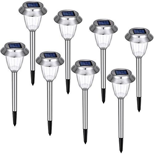 Solar Gartenleuchte, Oak Leaf 6 Mahl heller 8 Lumens Niederspannungslampe LED Wegleuchte IP44 Wasserdichte, 8-Pack, Außenleuchte aus Edelstahl für Garten und Weg