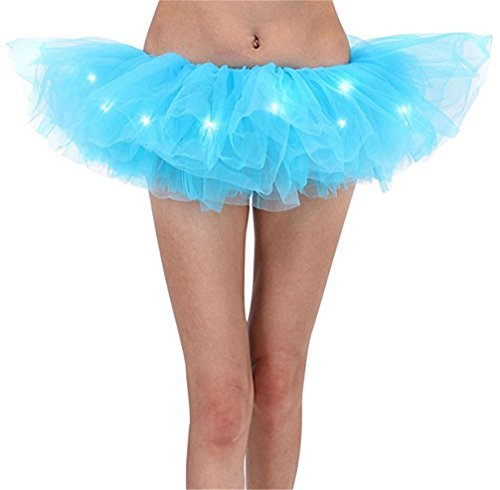 Party Hohe Taille Frauen Tutu Rock Kurze Mini Tüll Rock Mit Led-leuchten Dekoration (Halloween Blow Up)