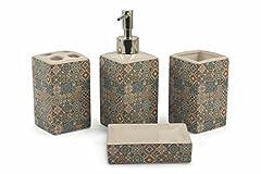 Idea Regalo - Galileo Casa Malaga Set 4 Pz Bagno, Quadrato, Ceramica, Multicolore, 22x20.5x1.075 cm