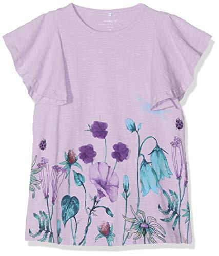 NAME IT Baby-Mädchen Nmfhalizette Ss Tunic T-Shirt, Violett (Lavendel Lavendula), (Herstellergröße: 92) -