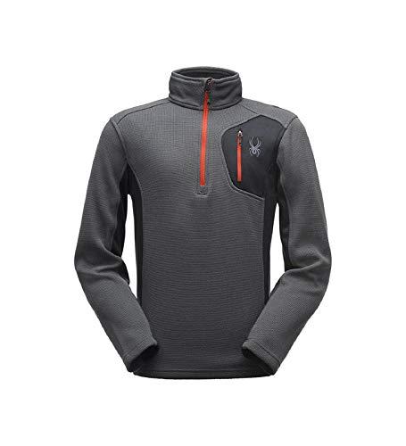 Spyder Herren Bandit HZ Stryke Jacke, Polar/Black/Red, XL Long Sleeve Polar Fleece