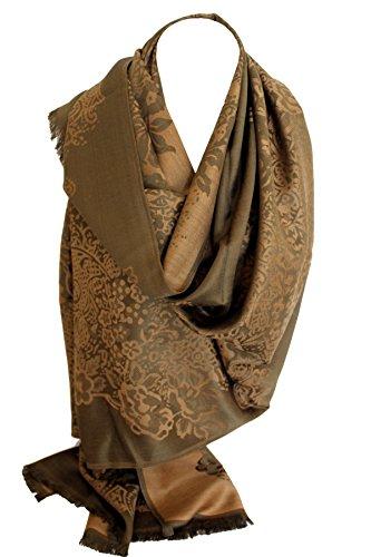 Floral Print Schal (Floral umrahmten zwei zweiseitig Reversible Print Pashmina weichem Wrap Schal Scarf Hijab Kopf Schals (Olivgrün und beige))