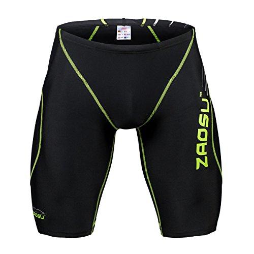 ZAOSU Wettkampf-Schwimmhose Z-Black - Badehose für Jungen und Herren, Größe:6, Farbe:Schwarz/Grün