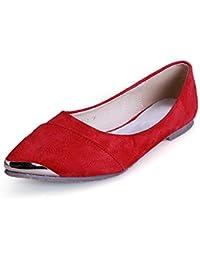 OCHENTA Calzados informales planos de metal de la boca baja zapatos de gran talla