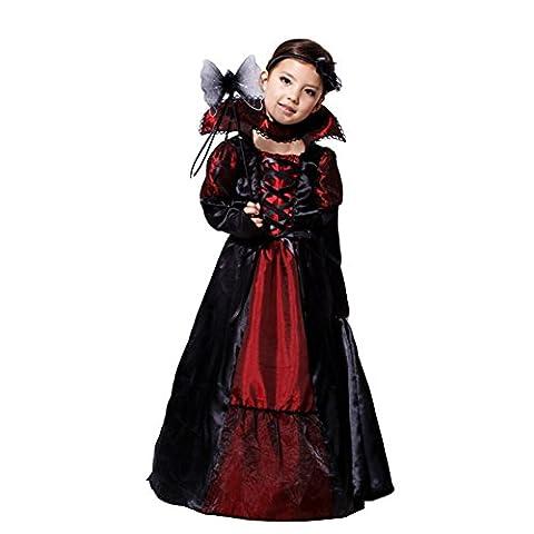 Amurleopard Kinder Kostüm für Mädchen Schwarz Königin M(Körpergröße:110-120 cm) (Mädchen-kostüm Für Kinder)