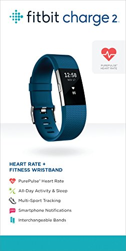 Fitbit Charge 2 Wireless Activity Tracker and Sleep Wristband (Small, Blue/Silver)