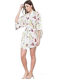 Ladies Floral 100% Cotton Batiste Kimono Style Wrap Dressing Gown Wrap 2fca6795e