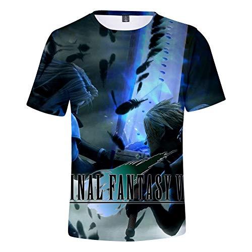 AIDEHUA Video Games Fans Final Fantasy 3D Print T-Shirt Fashion Trend Kurzarm(4XL(190-195cm),lv 1)