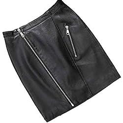 Falda de Cuero, Holacha Falda Apretada de Cintura Alta con Cremalleras Moda para Mujeres Negra (M)
