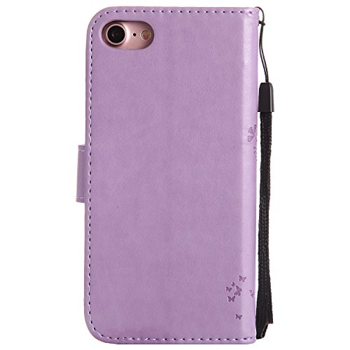 Custodia iPhone 6/6s,Gray Plaid Goffrato Design Premium PU Pelle Protettiva Flip Portafoglio Cover Case per iPhone 6/6s - Viola Viola