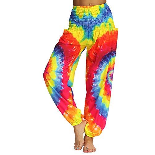 Fansu Damen Haremshose Tasche, Sporthose Yogahosen elegant Blumenmuster Pumphose Leichte Sommerhose Hose Hosen Große Ballonhose Hippiehose (One Size,Regenbogen) -