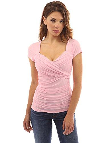 PattyBoutik femmes blouse cache-coeur à col V à manches courtes ruchées rose clair