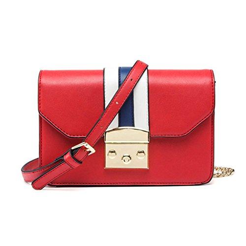 Frauen Umhängetasche, Sommer Mini Kette Tasche, Retro Casual PU Leder Messenger Bag Flap Bag (19,5 * 7 * 13 cm) (Farbe : Red)