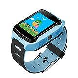 Xwly-sw GPS Enfants Montre Smart Watch Téléphone Smart Montres De Positionnement Sécurisé GPS Tracker Montre Poignet Vie Étanche Android Mobile Camera Cadeau pour Filles Garçons Enfants,Blue