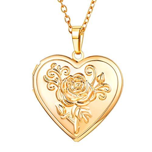 U7 Herz Medaillon zum Öffnen Gelbgold überzogend Photo Bilder Amulett Blume Herz Anhänger Halskette Herzanhänger Geschenk für Damen Mädchen Mutter(Gold)