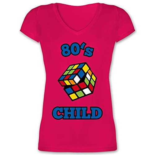 Statement Shirts - 80's Child - Zauberwürfel - S - Fuchsia - XO1525 - Damen T-Shirt mit V-Ausschnitt